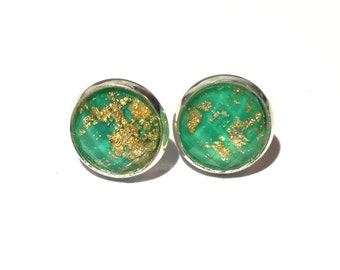 Green Gold Leaf Earrings