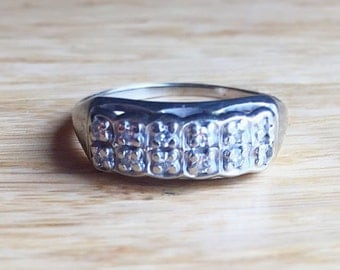 Vintage 14k White Gold Diamond Wedding Band Ring~ Art Deco 1930's Ladies Ring Size 7 Engagement Stacking Ring Classic Jewelry