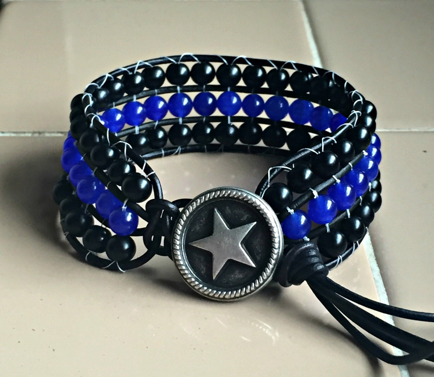 thin blue line bracelet police support by wishingflowerjewelry. Black Bedroom Furniture Sets. Home Design Ideas