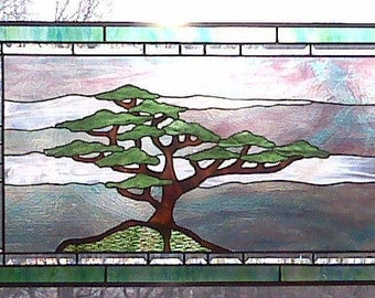 Stained Glass Tree with Summer Sky