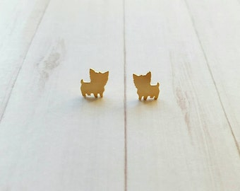 YORKSHIRE EARRINGS!! Cute earrings perfect  for dog lovers. gold earrings, stainless steel
