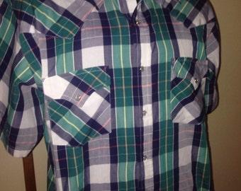 1970's Pearl Snap Western Plaid Shirt