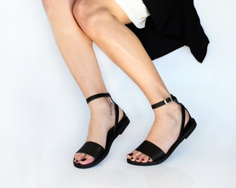 Sandals, Leather Sandals, Minimal Ankle strap women sandals,  Greek sandals, Black leather sandals , NAFSIKA