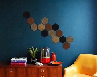 Wall design - shade 1 (Walnut / Black / Brown) - 15 pieces Kit
