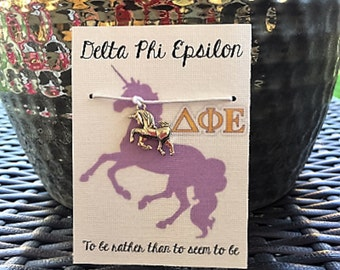Delta Phi Epsilon Unicorn Wish Bracelet~ Delta Phi Epsilon Sorority~ College Life~ Go Greek~ Big Sis Lil Sis Reveal~ Rush Week~ Party Favor
