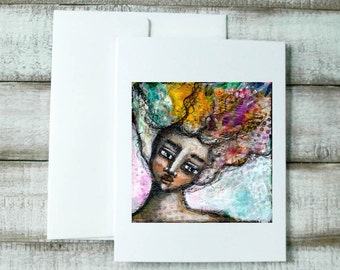Greeting card, whimsical portrait, wild hair woman, notecard, handmade greeting card, gift for mom, card for sister, illustration