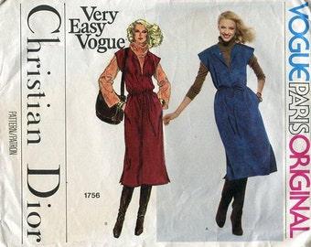 FREE US SHIP Vogue 1756 Vintage Retro 1970s 70s Paris Original Designer Christian Dior Dress Uncut Sewing Pattern Size 10 or 12 ff