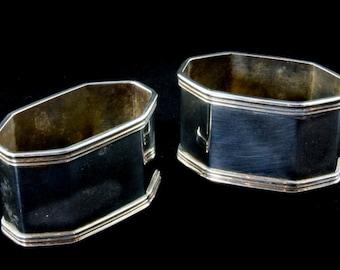 Pair of Octgaonal Art Deco  Napkin Rings by OLRI