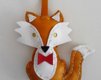 Leather Keychain, Fox with Red Bow Tie, Designer Keyrings, Love Charms