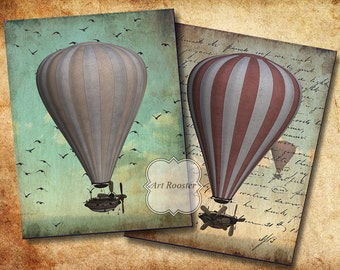 Printable Gift Tags Paper VINTAGE AIRCRAFT ATC Cards Steampunk Digital Printable Images Digital Scrapbook Cards Digital Collage Sheets