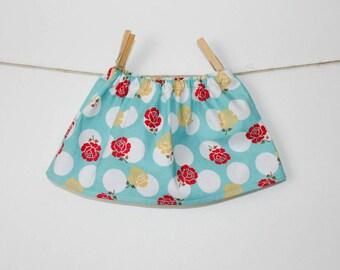 Baby Girl Skirt, Polka Dot Skirt, Teal, Red, Yellow, Rose, Polka Dot, Newborn Skirt