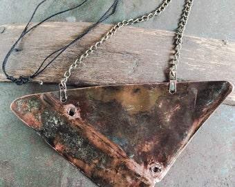 Copper necklace - Handmade copper necklace - Copper Bib necklace - Copper plate necklace