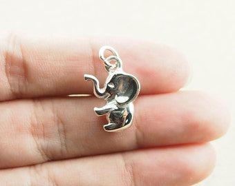 13 x 26 mm - Sterling Silver Elephant Pendant Charm, RB.22