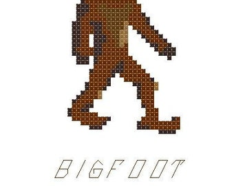 "Funny ""Bigfoot is my Homeboy"" cross stitch PATTERN 5"" x 7"""