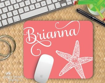 Majestic Starfish Mousepad - Monogrammed Beach Theme Mouse Pad - Custom Printed Star Fish Home Office Decor - Personalized Desk Accessory