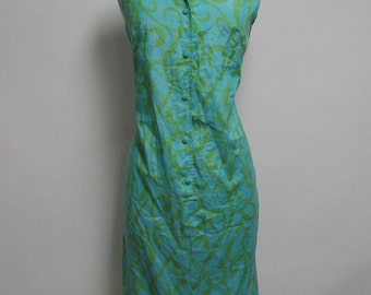 2451 - Vintage Day Dress Size S Blue Green Knee Length Sleeveless 1970s