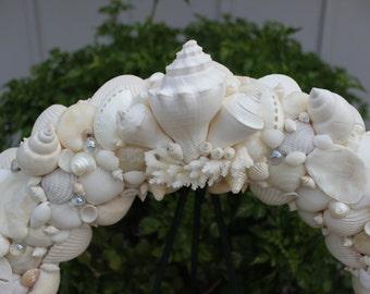 White Seashell Wreath, Wreath, Wedding Wreath, Seashells, Beach Decor Wall Art
