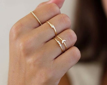 Stacking rings - set of 2 stack rings, simple rings, minimal rings, gold rings - MINIMALIST JEWELRY