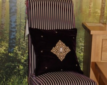 "Handmade EMBROIDRED CUSHIONS,VELVET cushions,Decorative Pillows,Square Pillow, 18""x 18"" cushions,Aubergine Cushions, Gold cushions."