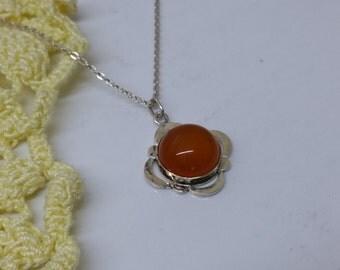 Art Nouveau pendant silver 800 amber vintage antique SK889