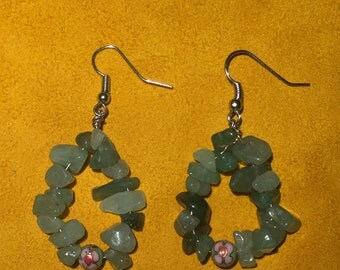 Green Jade and Floral Teardrop Earrings