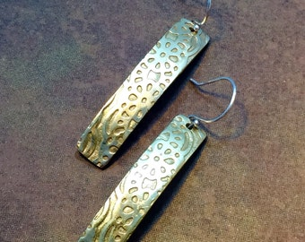 Stamped Brass Earrings / Brass Metal Clay - BSC011015