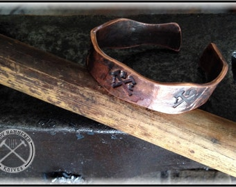 Copper Bracelet - Heavy Hand Forged Hammered