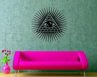 All Seeing Eye Wall Decal Illuminati Art Vinyl Poster Interior Design Home Graphics Decor Eye Of Providence Mural Decorative Sticker (5asee)