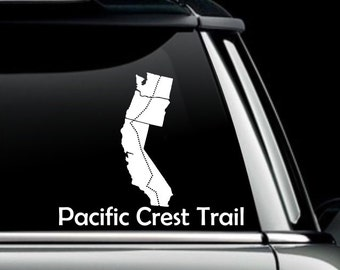 Pacific Crest Trail Map Decal- PCT Vinyl Decal- Hiking Sticker