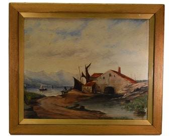 Scottish Landscape Oil Painting - French Seascape Picture - Boat Seaside Art