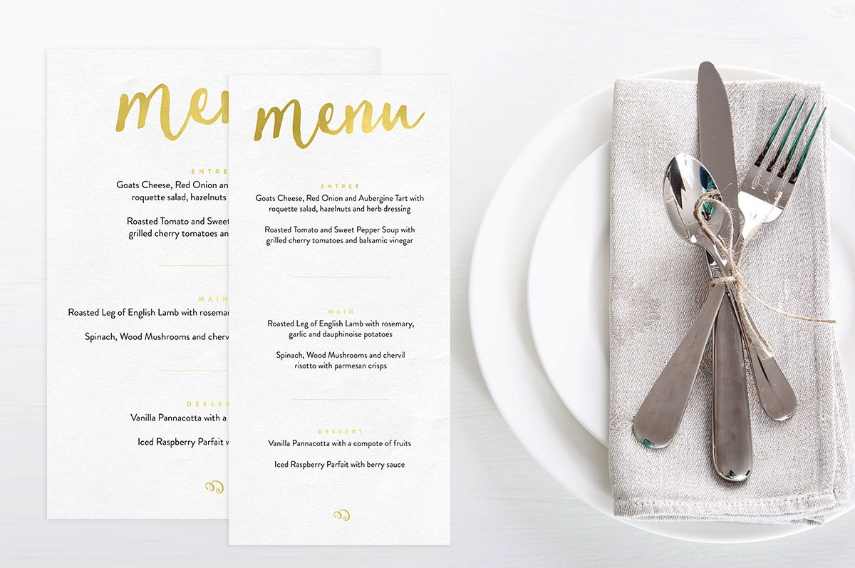 Gold wedding menu, Wedding menu printable, Printable wedding menu, Wedding reception decor, Wedding printables, Menu design, Printable menu