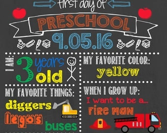 First Day of School Chalkboard / First Day Poster Chalkboard Sign / Back to School Chalkboard Sign / Printable First Day Chalkboard Sign