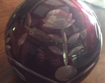 Large cranberry etched glass paperweight