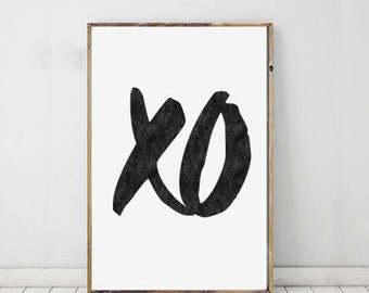 XO Print, xo Art, Typography Art, Printable Art, Hugs And Kisses, Printable Typography, xo Wall Prints, Downloadable Art, XO Wall Art