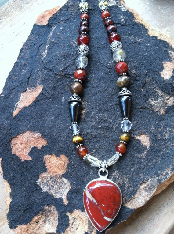 CREATIVE FORCES, Red Jasper pendant, Encourages Creativity, Power and Sexuality, Sacral Chakra design, Sedona & Reiki charged Metaphysical