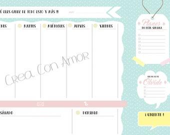 Weekly Planner. Planned. Agenda. Calendar.