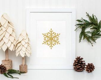 Gold Snowflake Printable, Winter wall art, Christmas home decor, Snowflake art print, Holiday decor, Winter Print, Christmas Printable art