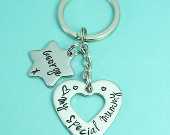 Personalised Heart Keyring | Key Chain | Keyring | Stainless Steel/Copper/Brass | Gift For Mum/Sister/Auntie/Nanny/Best Friend | UK