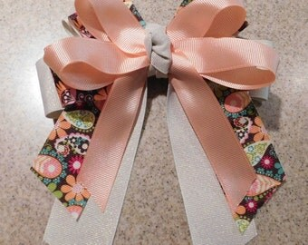 Gem Toned Paisley and Peach Hairbow