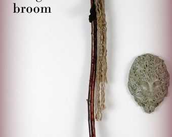 Witches broom, broom, besom, handfasting broom, magic broom, broom stick, with feathers, charms, crystals, stones,hand made, one of a kind.