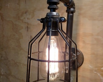Pipe Fixture Lighting Metal Lamp Guard Bulb Cage Vintage Restoration Hardware-Style Industrial