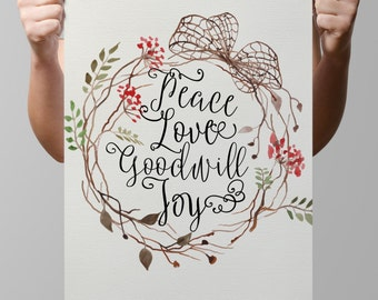 """INSTANT DOWNLOAD-Religious-Christian-Lord-Scripture-Bible Verse-Flower Wreath-Peace-Love-Goodwill-Joy-3 sizes-8.5x11-16x20""""-No.317"""