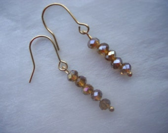 Earrings with five crystals of color amber, handwork, a wedding or a holiday