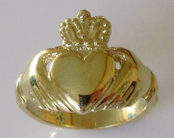 Large Gold Claddagh Ring
