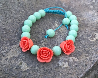 Coral and mint beaded bracelet Macrame bracelet Christmas gift Women bracelet Shamballa bracelet Bridesmaid gift Girlfriend gift Boho chic