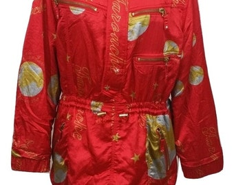 Vintage Ski Jacket by Lily Farouche in Red with Gold Size 12 in Excellent Condition - Free Postage