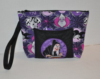 New!  Disney Villian * Old Hag * Snow White * Fabric Quilted -  Embroidered -Wristlet - Purse