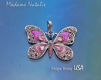Pink Butterfly Pendant, Pink Rhinestone Butterfly Pendant, Pink Enamel Butterfly, Long Necklace Butterfly Pendant, Pink Butterfly Jewelry