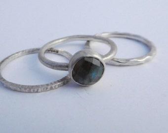 Sterling Silver Stacking Rings / Sterling Silver Ring with genuine Labradorite Gemstone, Handmade Rings
