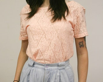 Vintage Peach Floral Stretch Lace Top w/ Wide Scoop Neckline 70s 80s Pink Lace Tee M Medium L Large